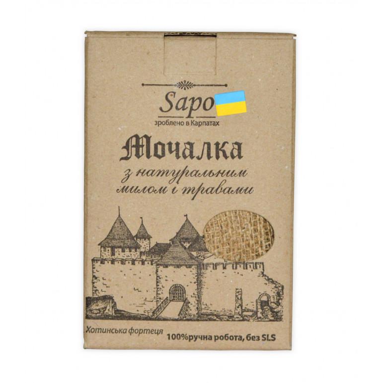 """Джутова мочалка з милом і травами """"Трави Карпат"""" 150г"""