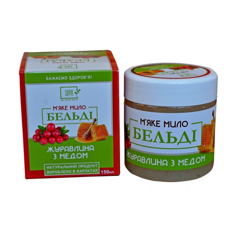 М'яке натуральне мило БЕЛЬДІ «Журавлина з медом», 150 мл