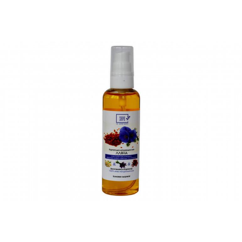 Карпатська натуральна олія льону з екстрактом ромашки, ефірною олією лаванди та сандала, 100 мл