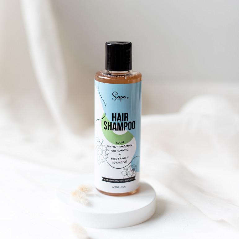 Шампунь для нормального волосся з олією виноградних кісточок та екстрактом камелії