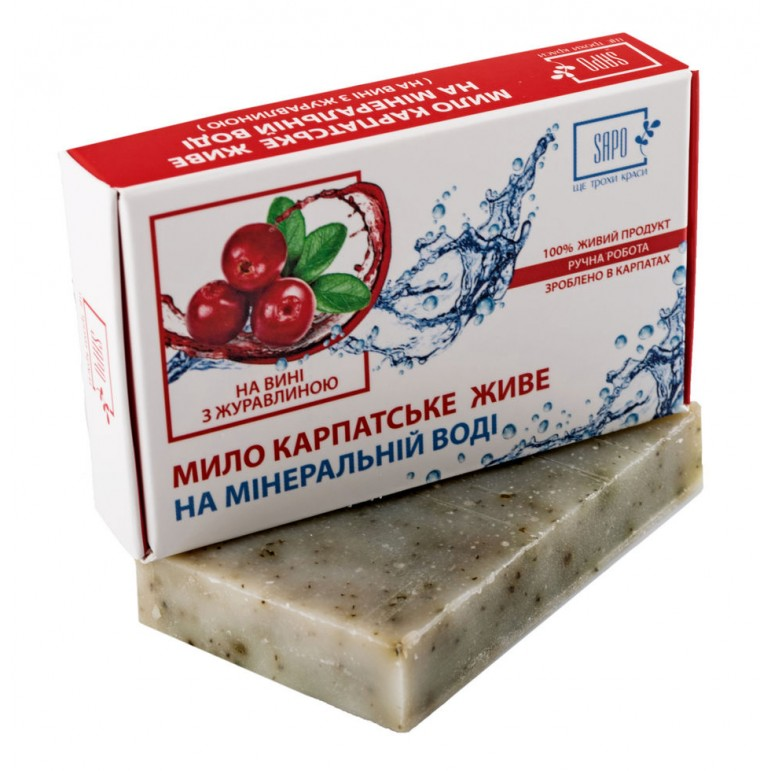 """Мило натуральне """"На мінеральній воді"""" НА ВИНІ З ЖУРАВЛИНОЮ 50г"""